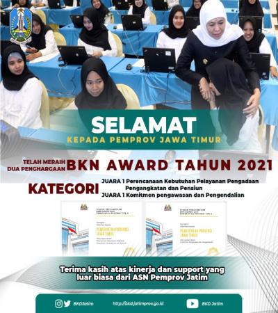 Jatim Borong 2 Penghargaan BKN Award 2021